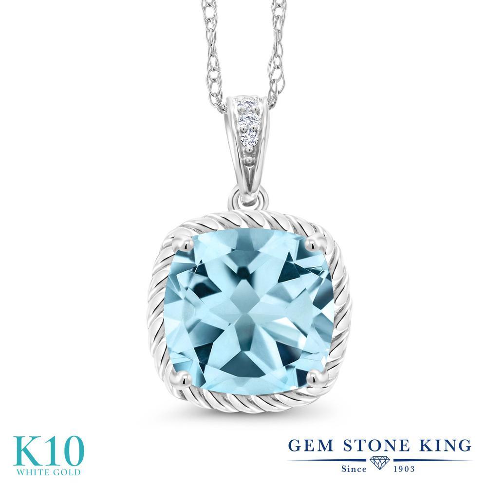 Gem Stone King 2.76カラット 天然 スカイブルートパーズ 天然 ダイヤモンド 10金 ホワイトゴールド(K10) ネックレス ペンダント レディース 大粒 天然石 11月 誕生石 金属アレルギー対応 誕生日プレゼント