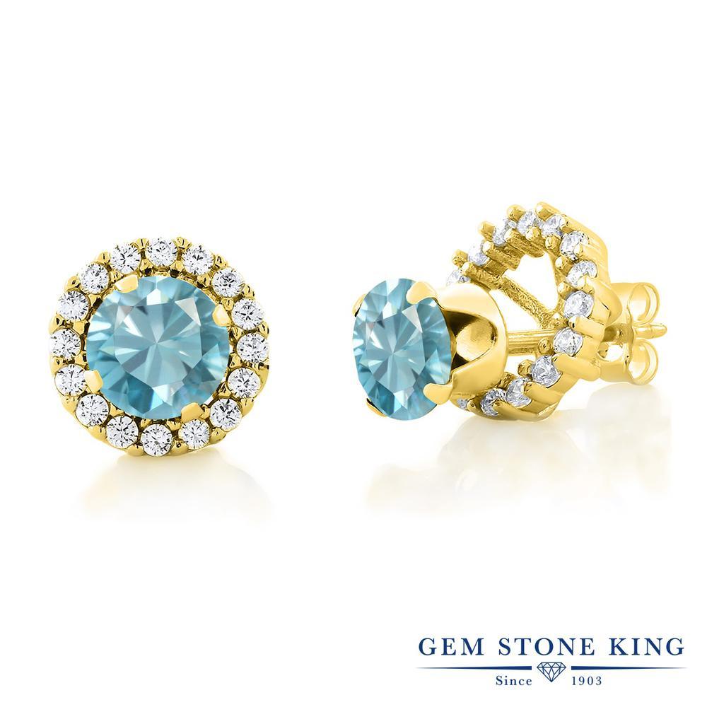 Gem Stone King 2.4カラット 天然石 ブルージルコン シルバー925 イエローゴールドコーティング ピアス レディース 大粒 シンプル ジャケット 天然石 12月 誕生石 金属アレルギー対応 誕生日プレゼント