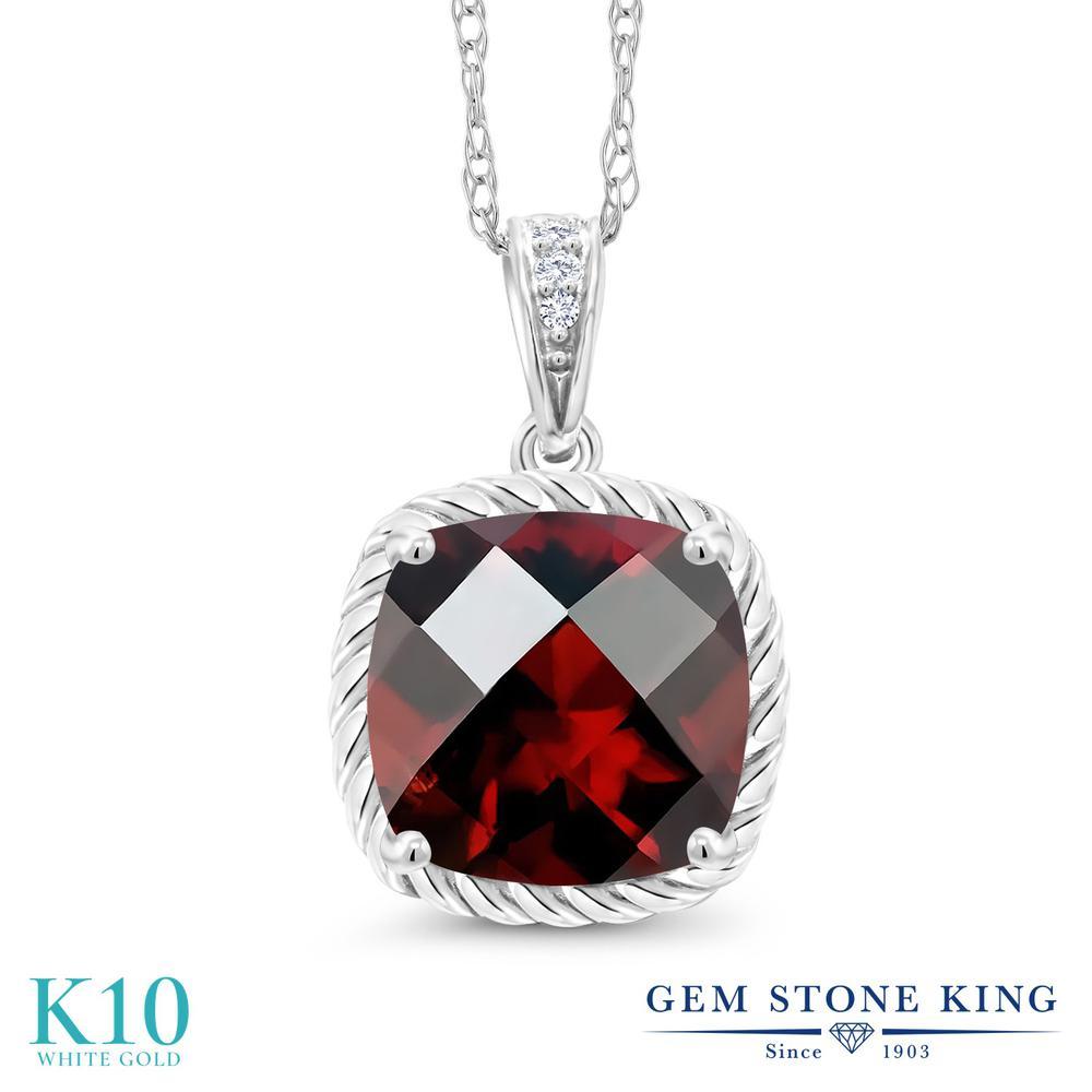 Gem Stone King 2.42カラット 天然 ガーネット 天然 ダイヤモンド 10金 ホワイトゴールド(K10) ネックレス ペンダント レディース 大粒 天然石 1月 誕生石 金属アレルギー対応 誕生日プレゼント