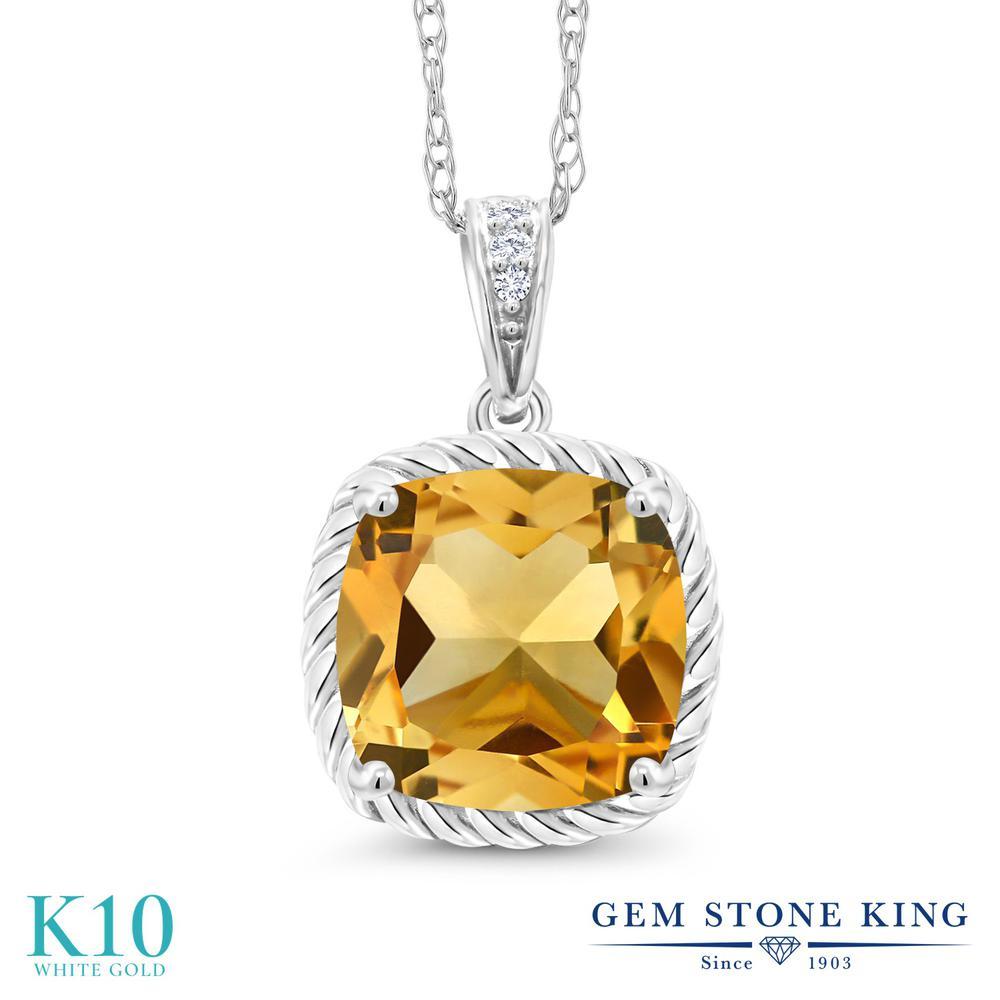 Gem Stone King 3.02カラット 天然 シトリン 天然 ダイヤモンド 10金 ホワイトゴールド(K10) ネックレス ペンダント レディース 大粒 天然石 11月 誕生石 金属アレルギー対応 誕生日プレゼント