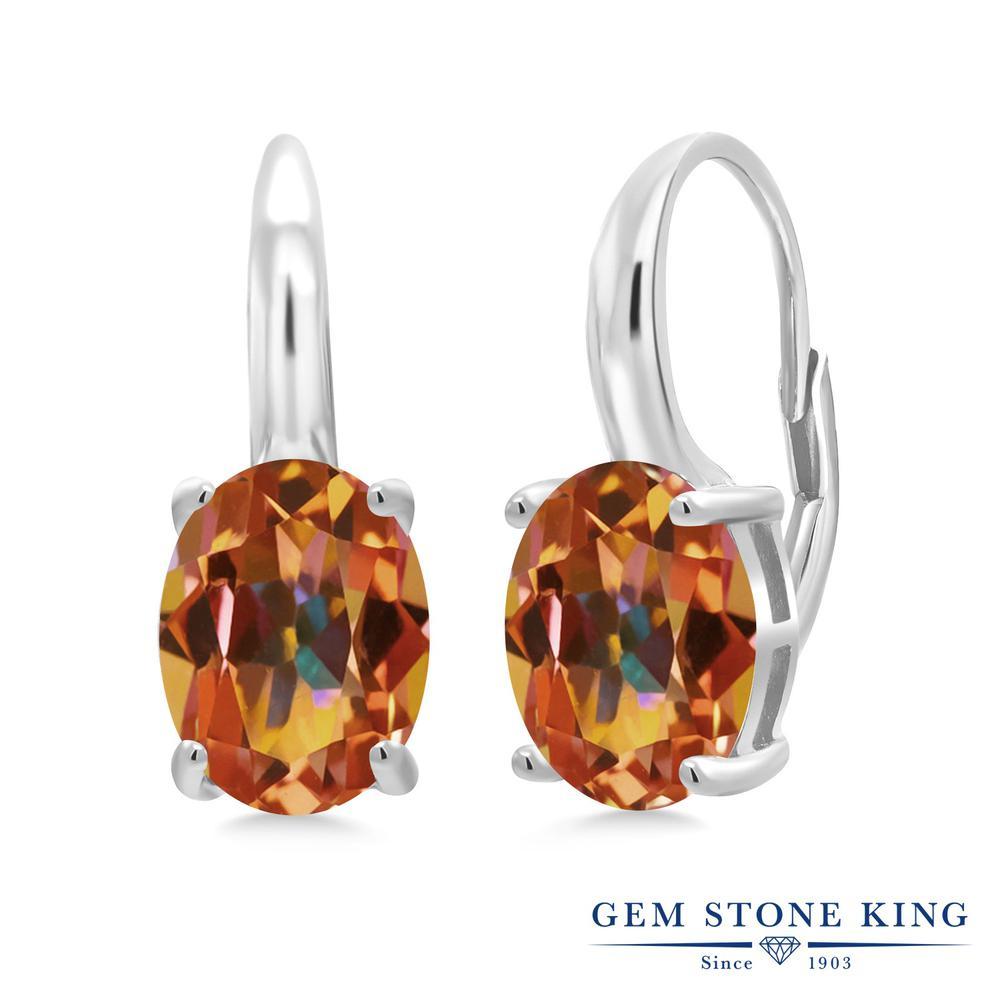 Gem Stone King 5.3カラット 天然石 エクスタシーミスティックトパーズ シルバー925 ピアス レディース 大粒 シンプル ぶら下がり レバーバック 天然石 金属アレルギー対応 誕生日プレゼント