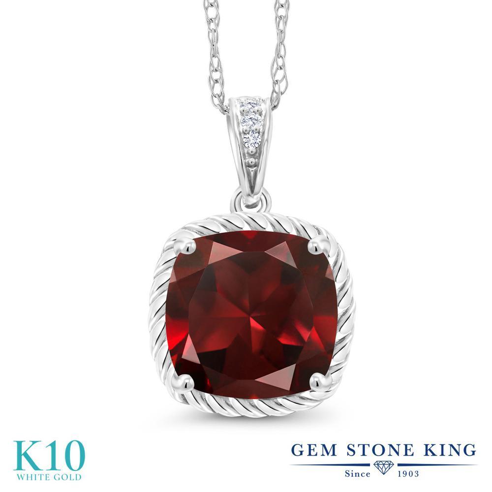 Gem Stone King 2.76カラット 天然 ガーネット 天然 ダイヤモンド 10金 ホワイトゴールド(K10) ネックレス ペンダント レディース 大粒 天然石 1月 誕生石 金属アレルギー対応 誕生日プレゼント