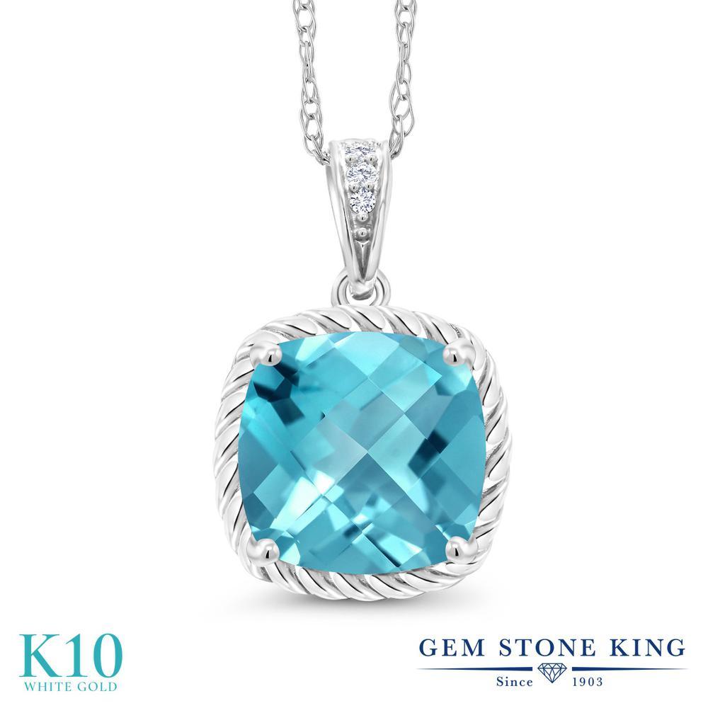 Gem Stone King 2.77カラット 天然 スイスブルートパーズ 天然 ダイヤモンド 10金 ホワイトゴールド(K10) ネックレス ペンダント レディース 大粒 天然石 11月 誕生石 金属アレルギー対応 誕生日プレゼント
