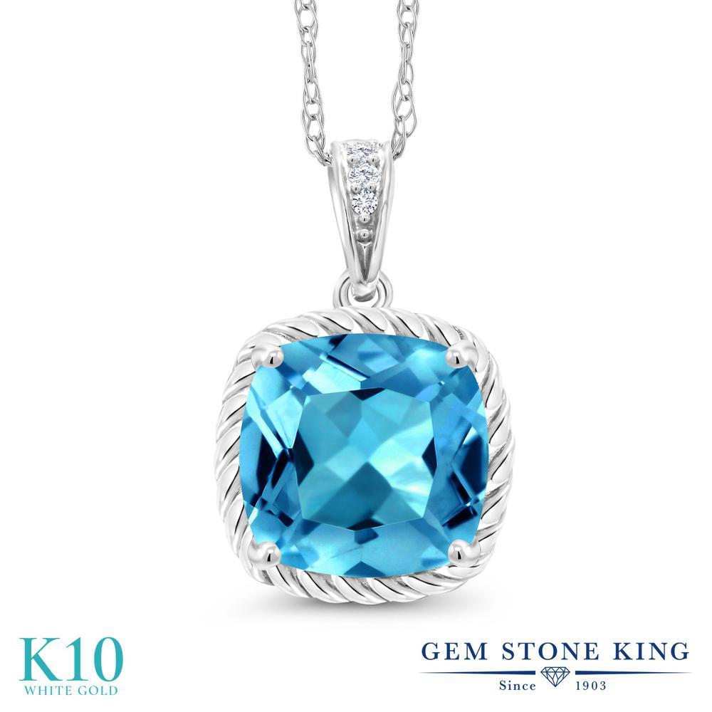 Gem Stone King 2.76カラット 天然 スイスブルートパーズ 天然 ダイヤモンド 10金 ホワイトゴールド(K10) ネックレス ペンダント レディース 大粒 天然石 11月 誕生石 金属アレルギー対応 誕生日プレゼント