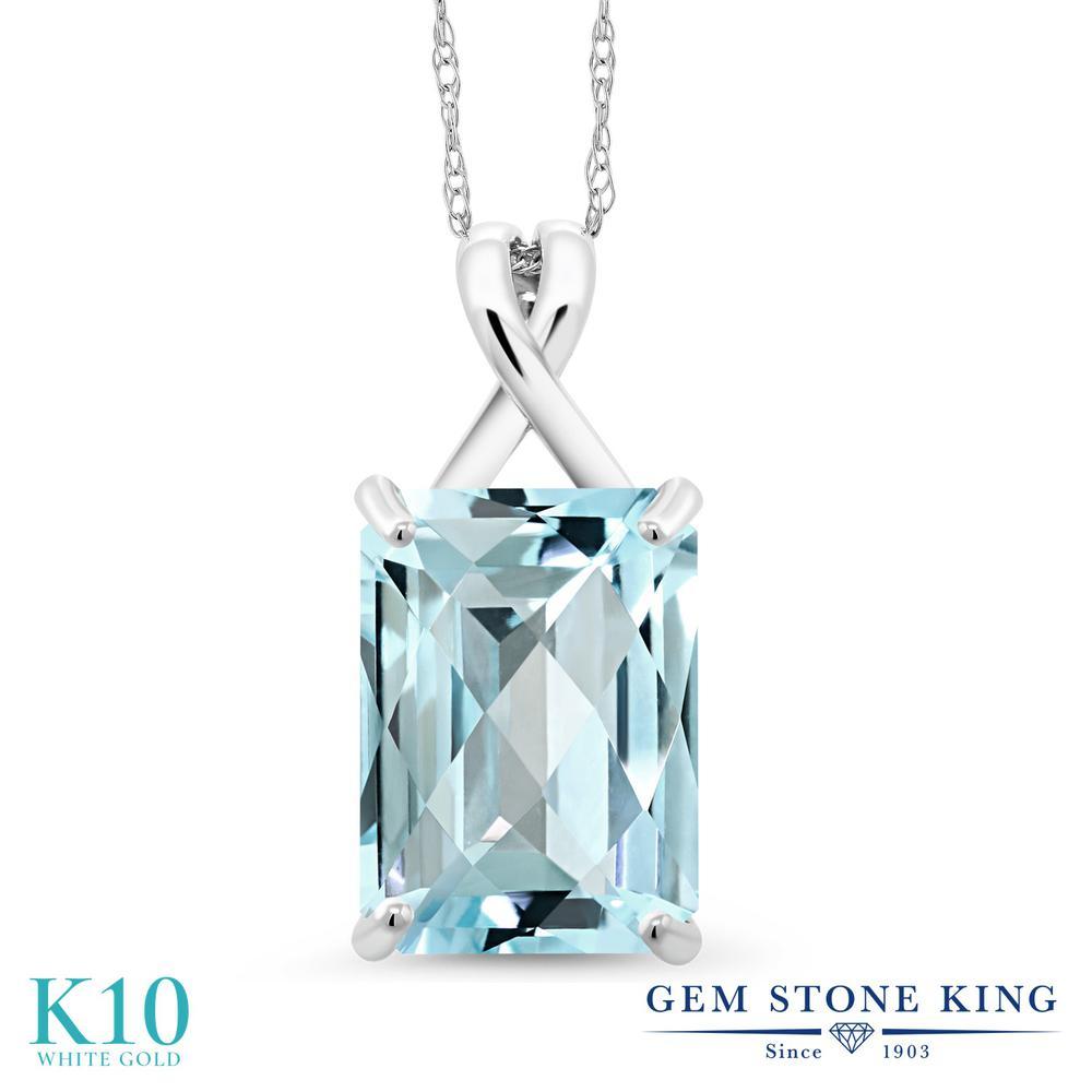 Gem Stone King 8.7カラット 天然 スカイブルートパーズ 10金 ホワイトゴールド(K10) ネックレス ペンダント レディース 大粒 一粒 シンプル 天然石 11月 誕生石 金属アレルギー対応 誕生日プレゼント