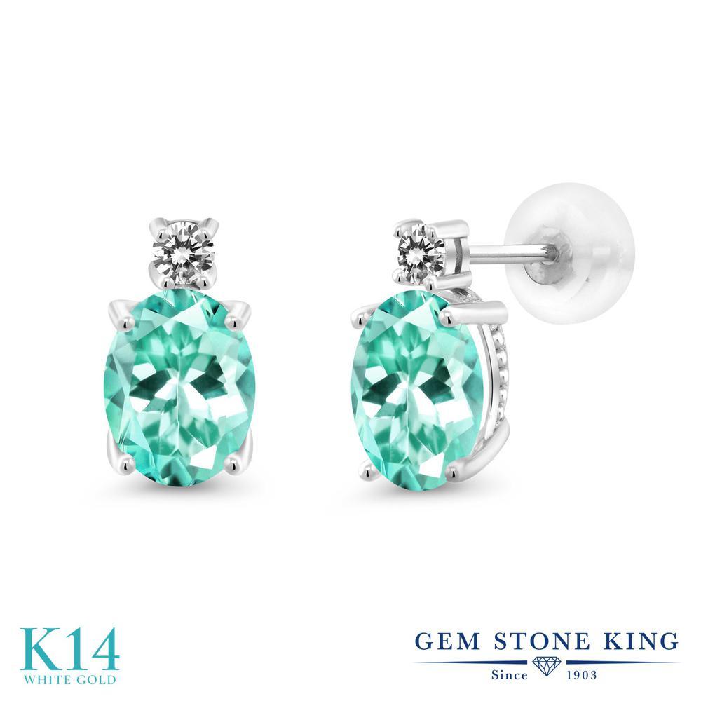Gem Stone King 2.51カラット 天然アパタイト 14金 ホワイトゴールド(K14) 天然ダイヤモンド ピアス レディース 大粒 スタッド 天然石 金属アレルギー対応 誕生日プレゼント