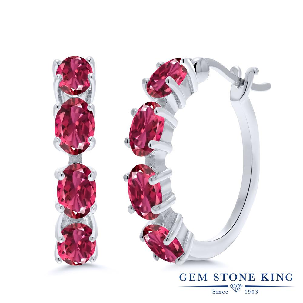Gem Stone King 3.04カラット 天然 ピンクトルマリン シルバー925 ピアス レディース 小粒 フープ 華奢 細身 天然石 10月 誕生石 金属アレルギー対応 誕生日プレゼント