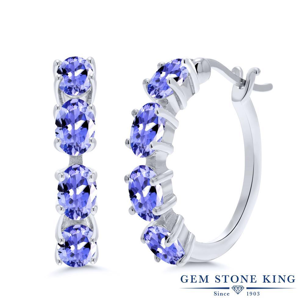 Gem Stone King 3.6カラット 天然石 タンザナイト シルバー925 ピアス レディース 小粒 フープ 華奢 細身 天然石 12月 誕生石 金属アレルギー対応 誕生日プレゼント