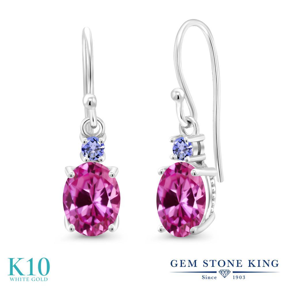 Gem Stone King 3.46カラット 合成ピンクサファイア 天然石 タンザナイト 10金 ホワイトゴールド(K10) ピアス レディース 大粒 ぶら下がり フレンチワイヤー 金属アレルギー対応 誕生日プレゼント