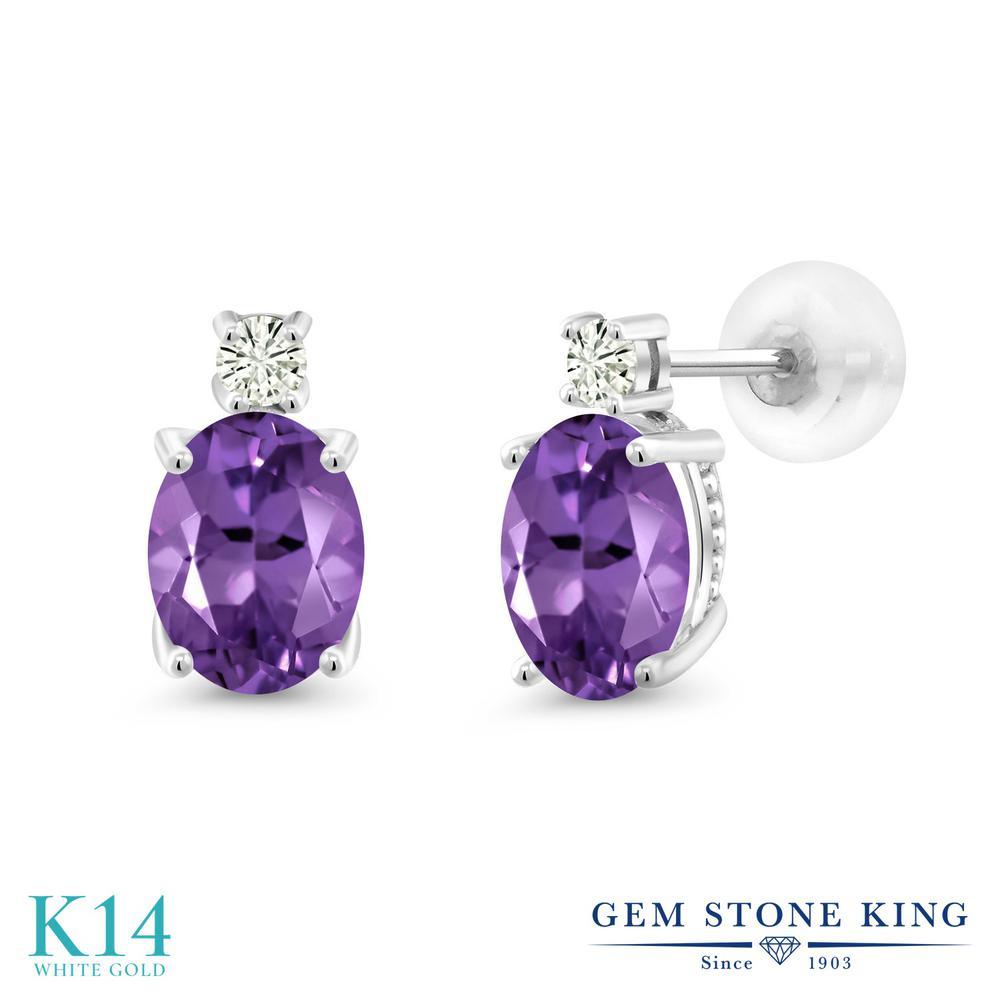 Gem Stone King 2.12カラット 天然 アメジスト モアッサナイト Charles & Colvard 14金 ホワイトゴールド(K14) ピアス レディース 大粒 スタッド 天然石 2月 誕生石 金属アレルギー対応 誕生日プレゼント