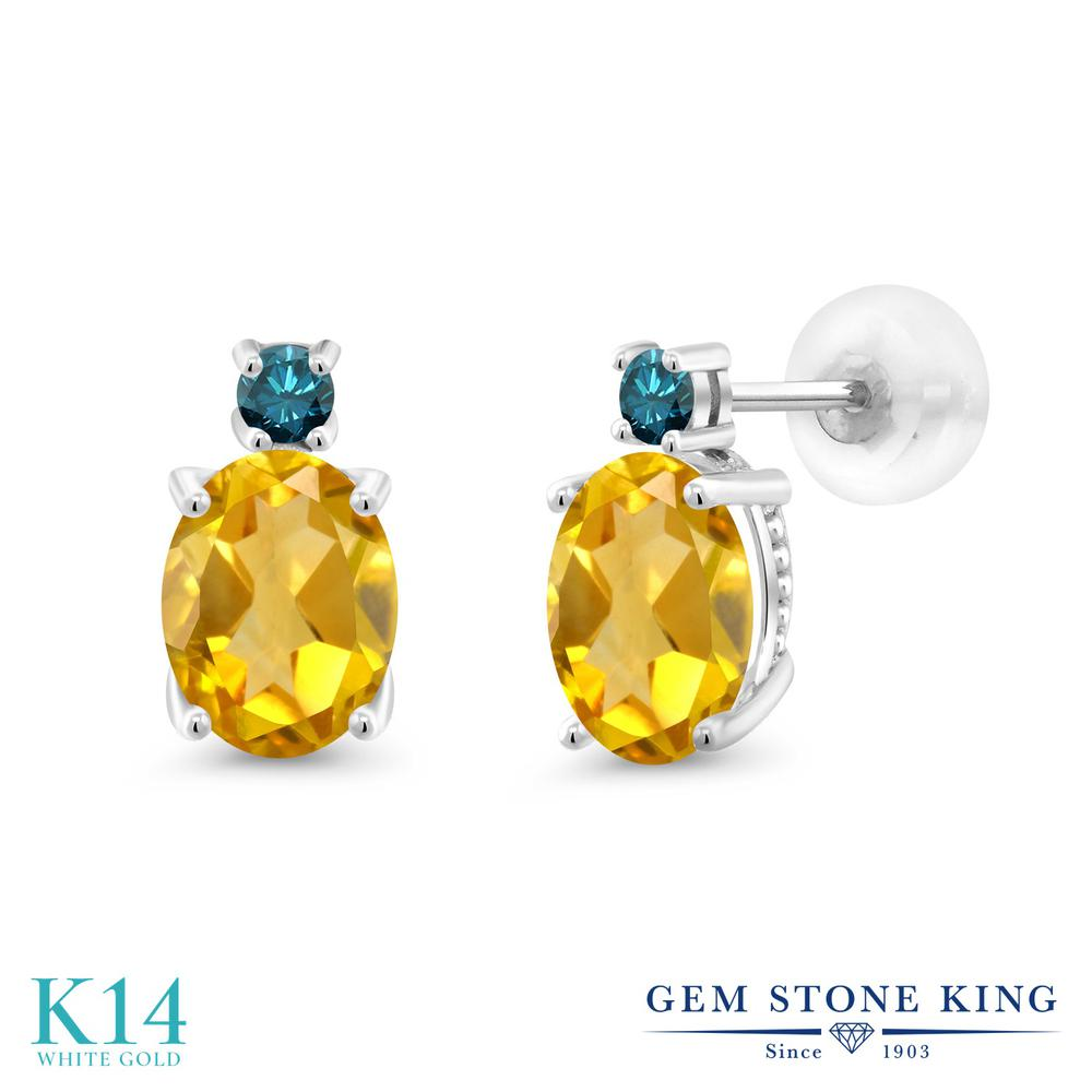 Gem Stone King 2.73カラット 天然シトリン 14金 ホワイトゴールド(K14) 天然ブルーダイヤモンド ピアス レディース 大粒 スタッド 天然石 誕生石 金属アレルギー対応 誕生日プレゼント