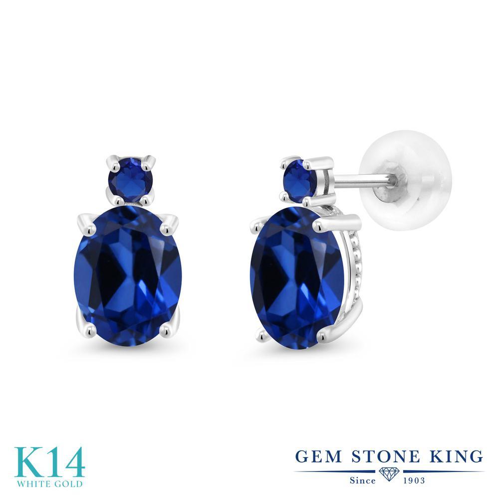Gem Stone King 3.36カラット シミュレイテッド サファイア 14金 ホワイトゴールド(K14) ピアス レディース 大粒 スタッド 金属アレルギー対応 誕生日プレゼント