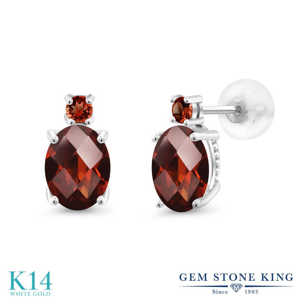 Gem Stone King 2.98カラット 天然 ガーネット 14金 ホワイトゴールド(K14) ピアス レディース 大粒 スタッド 天然石 1月 誕生石 金属アレルギー対応 誕生日プレゼント