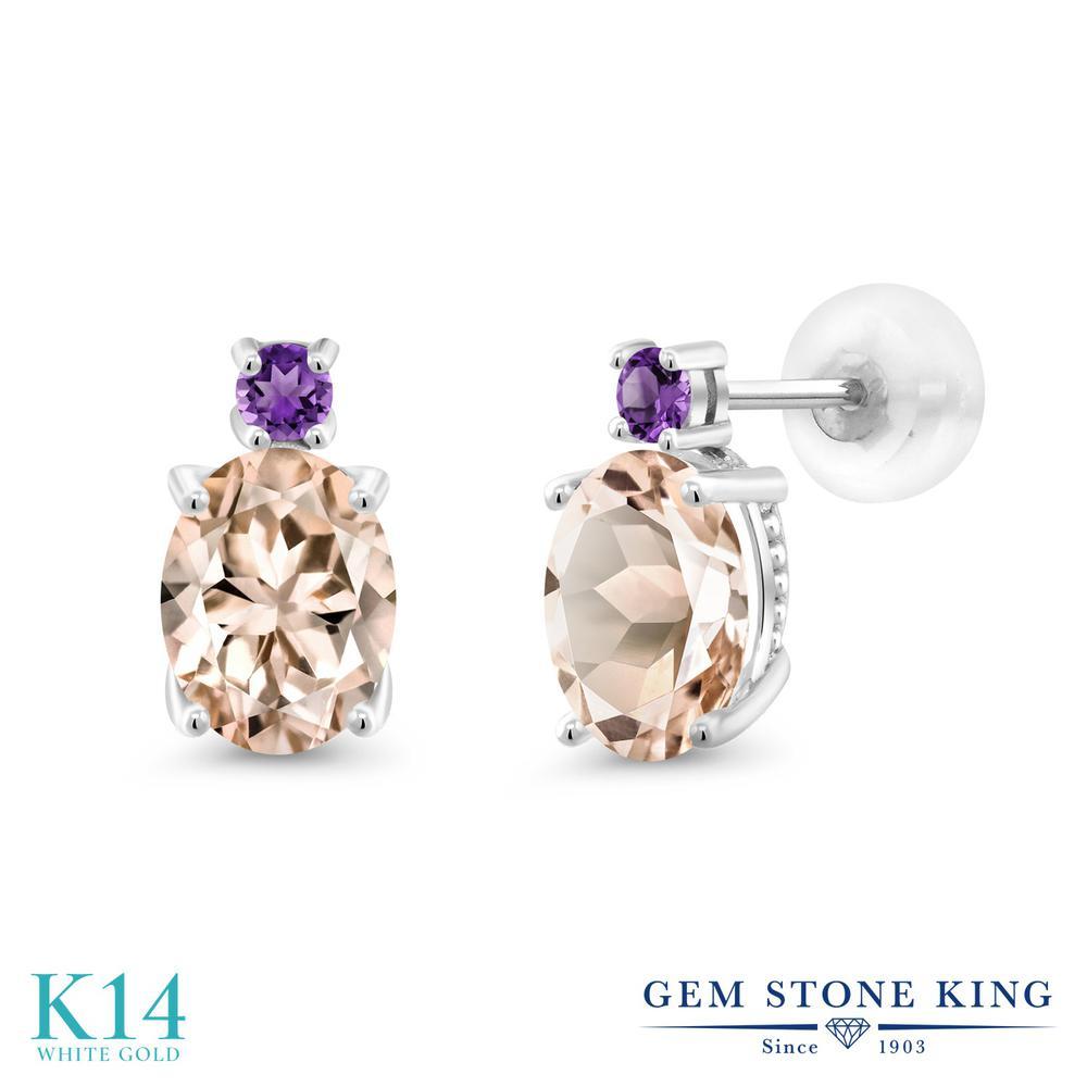 Gem Stone King 2.12カラット 天然モルガナイト(ピーチ) 天然アメジスト 14金 ホワイトゴールド(K14) ピアス レディース 大粒 スタッド 天然石 誕生石 金属アレルギー対応 誕生日プレゼント