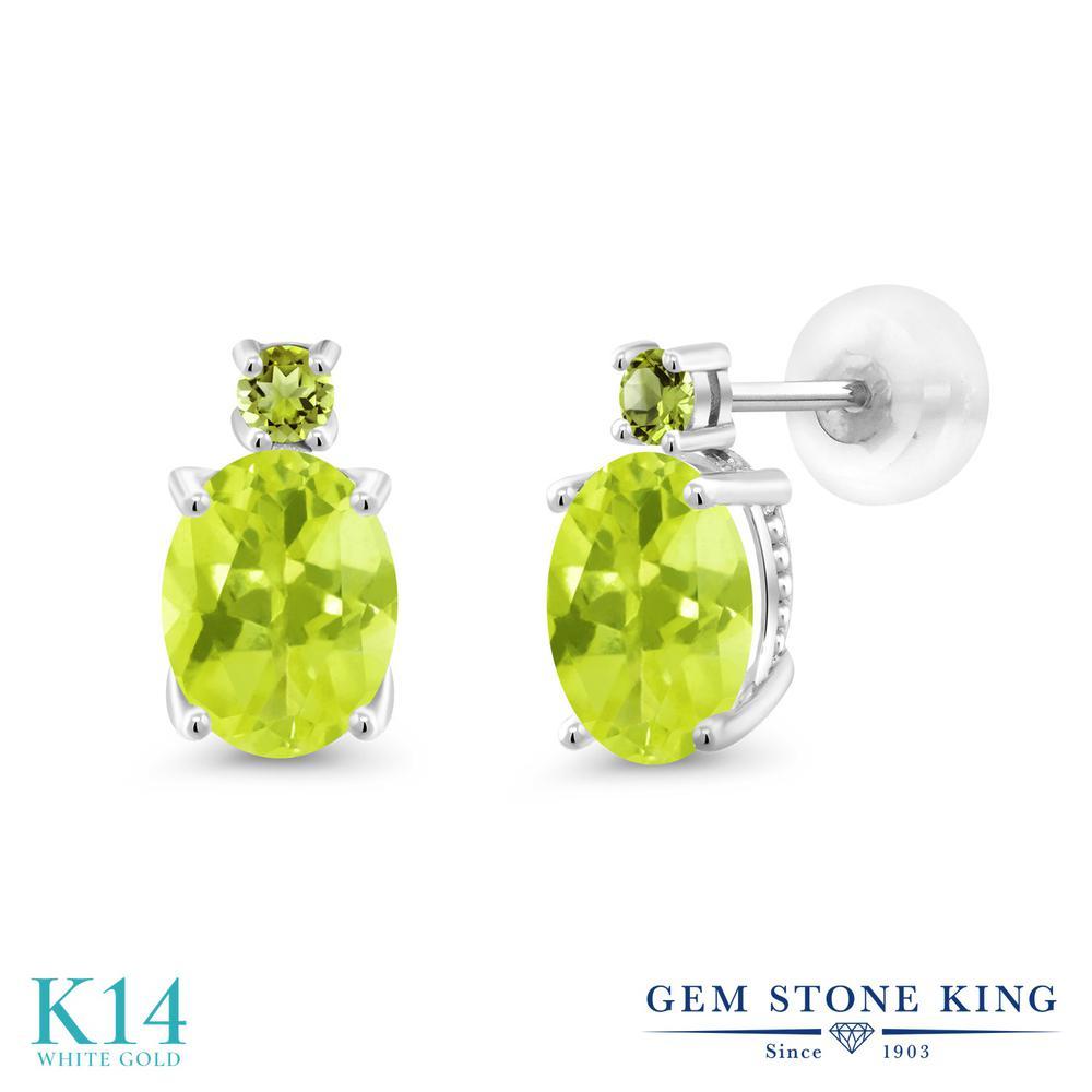 Gem Stone King 2.34カラット 天然 レモンクォーツ 天然石 ペリドット 14金 ホワイトゴールド(K14) ピアス レディース 大粒 スタッド 天然石 金属アレルギー対応 誕生日プレゼント