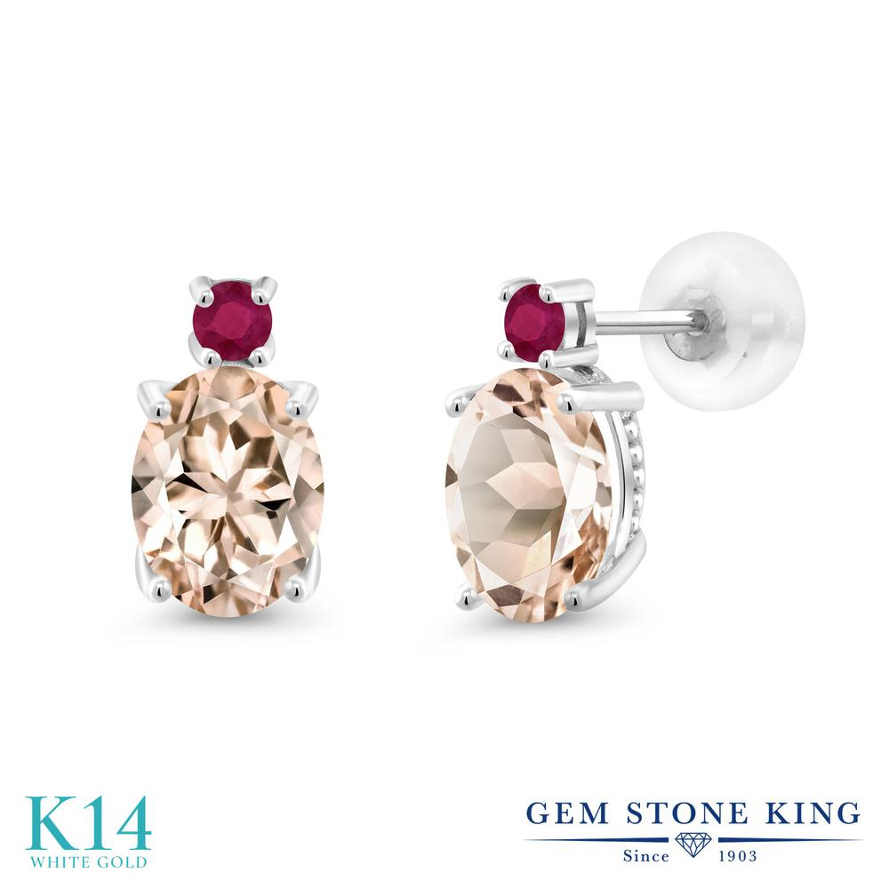 Gem Stone King 2.24カラット 天然モルガナイト(ピーチ) 天然ルビー 14金 ホワイトゴールド(K14) ピアス レディース 大粒 スタッド 天然石 誕生石 金属アレルギー対応 誕生日プレゼント