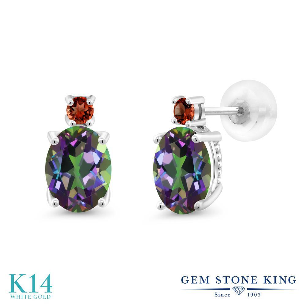Gem Stone King 2.78カラット 天然石 ミスティックトパーズ (グリーン) 天然 ガーネット 14金 ホワイトゴールド(K14) ピアス レディース 大粒 スタッド 天然石 金属アレルギー対応 誕生日プレゼント