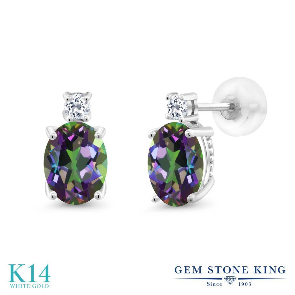 Gem Stone King 2.76カラット 天然石 ミスティックトパーズ (グリーン) 天然 トパーズ (無色透明) 14金 ホワイトゴールド(K14) ピアス レディース 大粒 スタッド 天然石 金属アレルギー対応 誕生日プレゼント