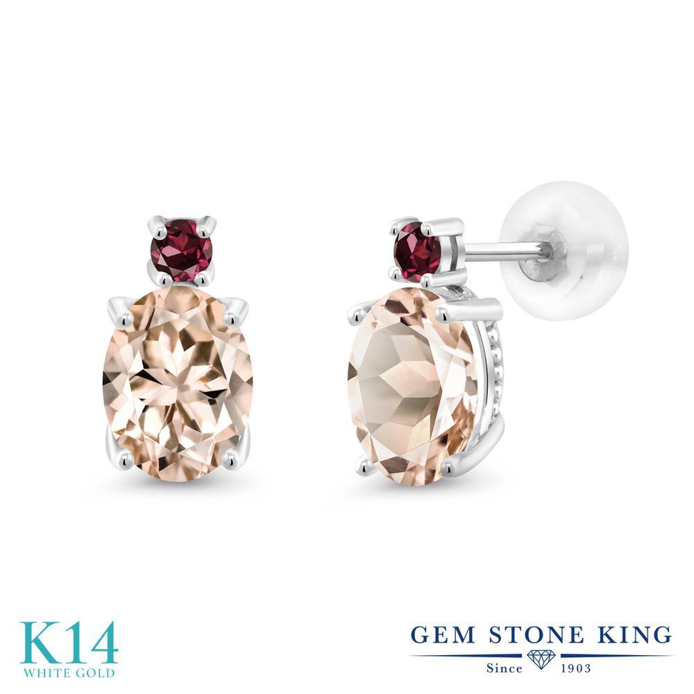 Gem Stone King 2.18カラット 天然モルガナイト(ピーチ) 天然ロードライトガーネット 14金 ホワイトゴールド(K14) ピアス レディース 大粒 スタッド 天然石 誕生石 金属アレルギー対応 誕生日プレゼント