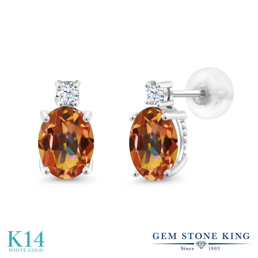 Gem Stone King 2.7カラット 天然石 エクスタシーミスティックトパーズ 14金 ホワイトゴールド(K14) ピアス レディース 大粒 スタッド 天然石 金属アレルギー対応 誕生日プレゼント