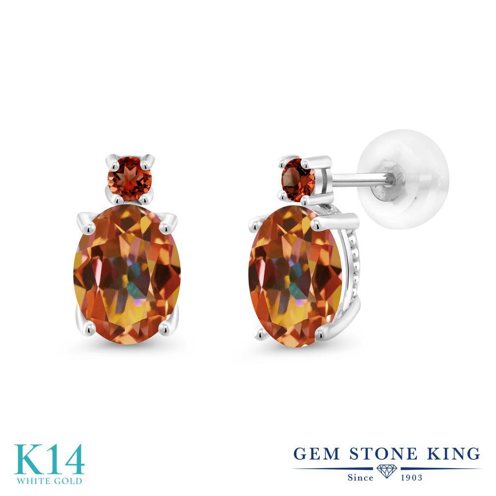 Gem Stone King 2.78カラット 天然石 エクスタシーミスティックトパーズ 天然 ガーネット 14金 ホワイトゴールド(K14) ピアス レディース 大粒 スタッド 天然石 金属アレルギー対応 誕生日プレゼント