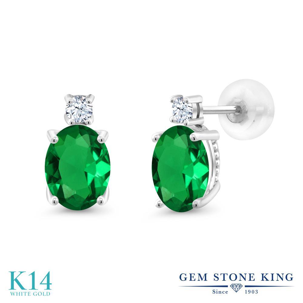 Gem Stone King 2.1カラット ナノエメラルド 合成ホワイトサファイア (ダイヤのような無色透明) 14金 ホワイトゴールド(K14) ピアス レディース 大粒 スタッド 金属アレルギー対応 誕生日プレゼント