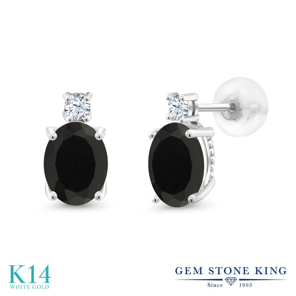 Gem Stone King 2.6カラット 天然 オニキス 合成ホワイトサファイア (ダイヤのような無色透明) 14金 ホワイトゴールド(K14) ピアス レディース 大粒 スタッド 天然石 8月 誕生石 金属アレルギー対応 誕生日プレゼント