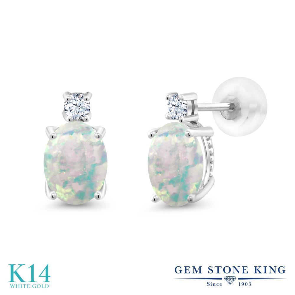Gem Stone King 2.2カラット シミュレイテッド ホワイトオパール 合成ホワイトサファイア (ダイヤのような無色透明) 14金 ホワイトゴールド(K14) ピアス レディース 大粒 スタッド 10月 誕生石 金属アレルギー対応 誕生日プレゼント
