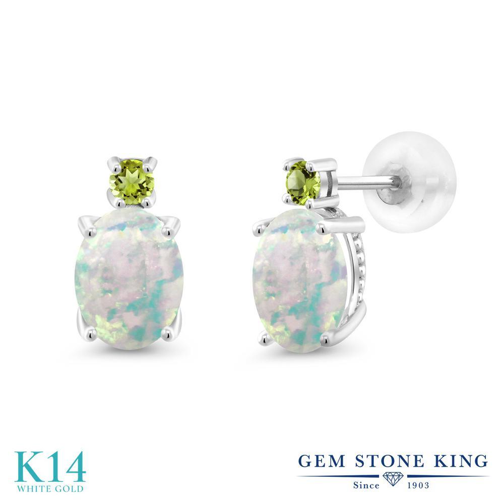 Gem Stone King 2.24カラット シミュレイテッド ホワイトオパール 天然石 ペリドット 14金 ホワイトゴールド(K14) ピアス レディース 大粒 スタッド 10月 誕生石 金属アレルギー対応 誕生日プレゼント