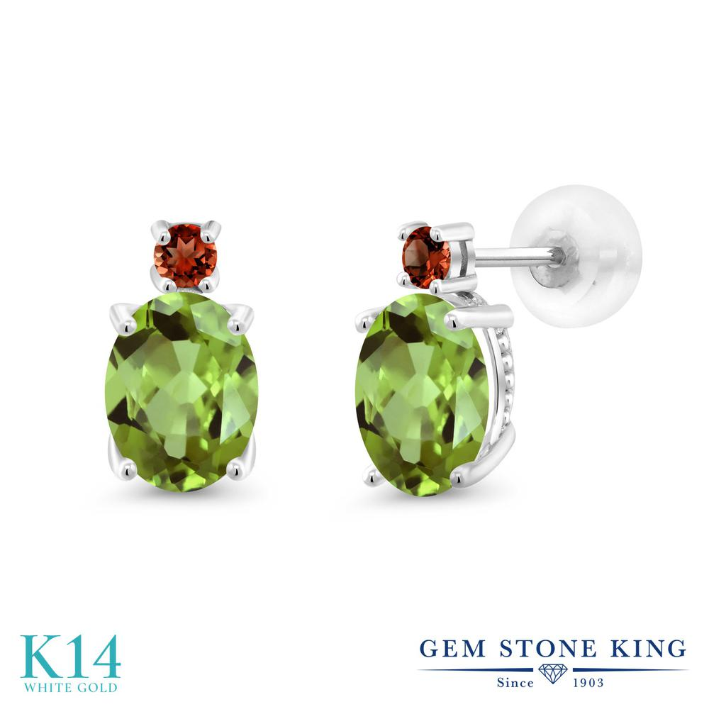 Gem Stone King 2.84カラット 天然石 ペリドット 天然 ガーネット 14金 ホワイトゴールド(K14) ピアス レディース 大粒 スタッド 天然石 8月 誕生石 金属アレルギー対応 誕生日プレゼント