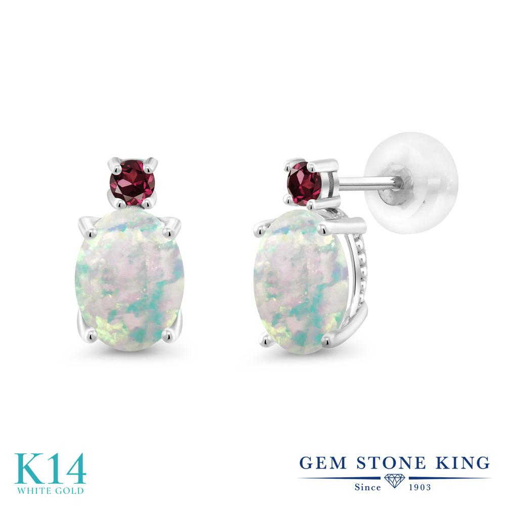 Gem Stone King 2.28カラット シミュレイテッド ホワイトオパール 天然 ロードライトガーネット 14金 ホワイトゴールド(K14) ピアス レディース 大粒 スタッド 10月 誕生石 金属アレルギー対応 誕生日プレゼント