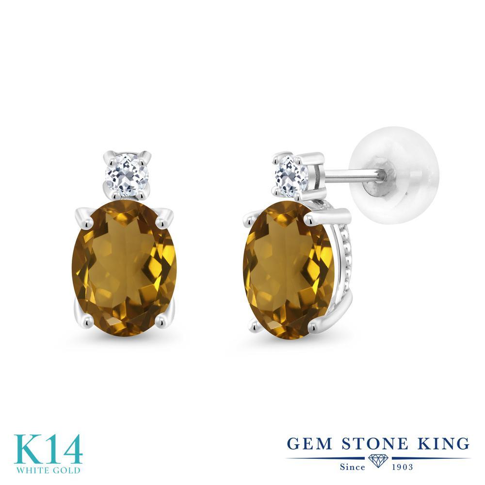 Gem Stone King 2.16カラット 天然石 ウィスキークォーツ 天然 トパーズ (無色透明) 14金 ホワイトゴールド(K14) ピアス レディース 大粒 スタッド 天然石 金属アレルギー対応 誕生日プレゼント