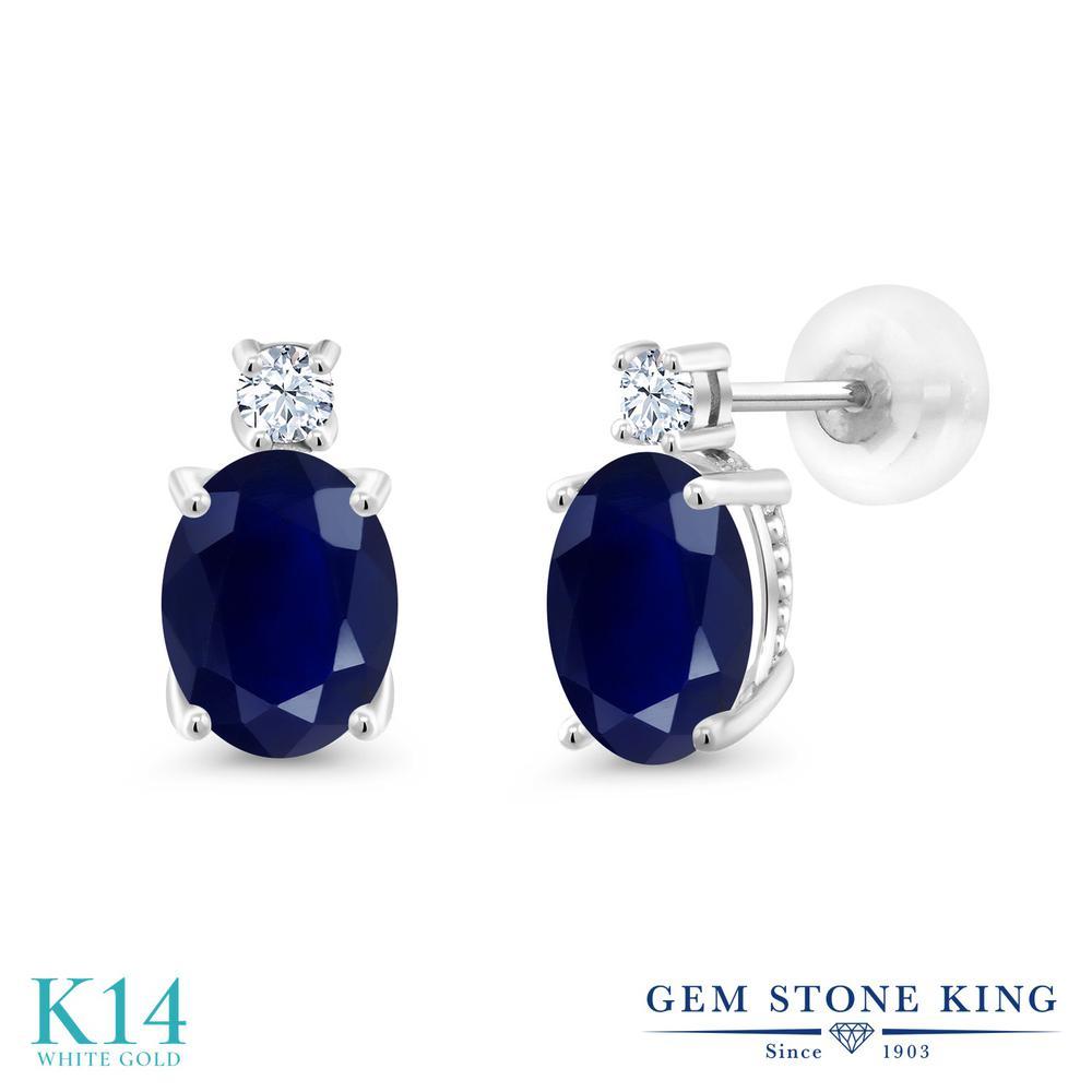 Gem Stone King 3.68カラット 天然 サファイア 合成ホワイトサファイア (ダイヤのような無色透明) 14金 ホワイトゴールド(K14) ピアス レディース 大粒 スタッド 天然石 9月 誕生石 金属アレルギー対応 誕生日プレゼント