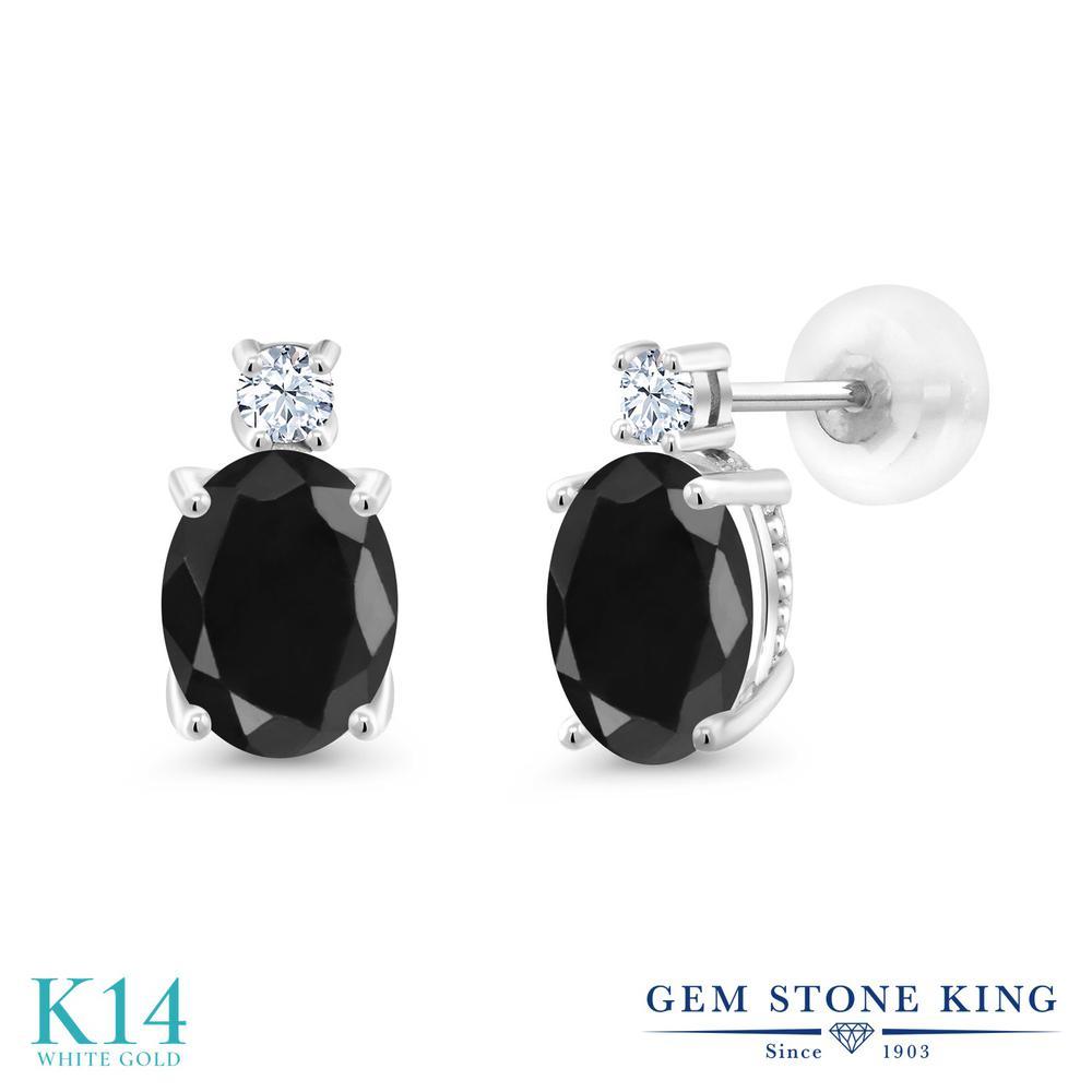 Gem Stone King 3.42カラット 天然 ブラックサファイア 合成ホワイトサファイア (ダイヤのような無色透明) 14金 ホワイトゴールド(K14) ピアス レディース 大粒 スタッド 天然石 9月 誕生石 金属アレルギー対応 誕生日プレゼント