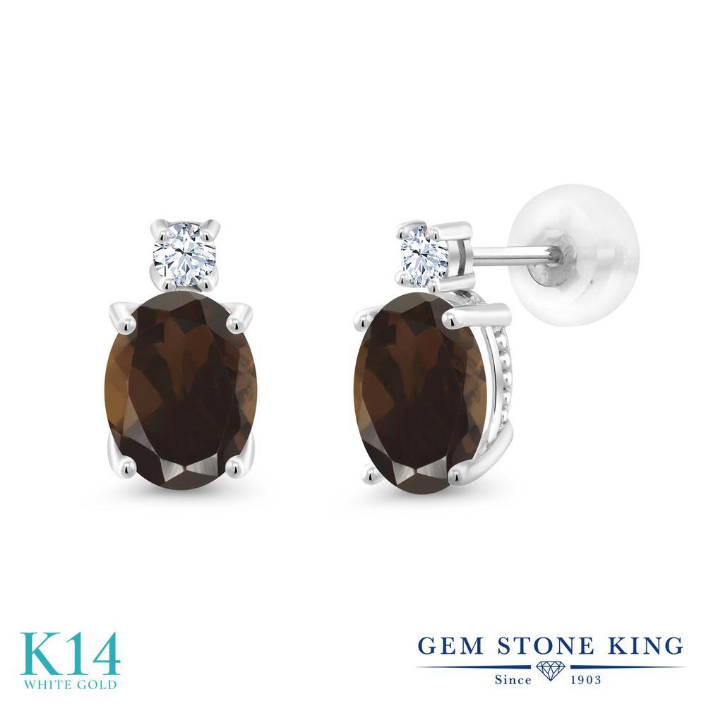 Gem Stone King 2.5カラット 天然 スモーキークォーツ (ブラウン) 14金 ホワイトゴールド(K14) ピアス レディース 大粒 スタッド 天然石 金属アレルギー対応 誕生日プレゼント
