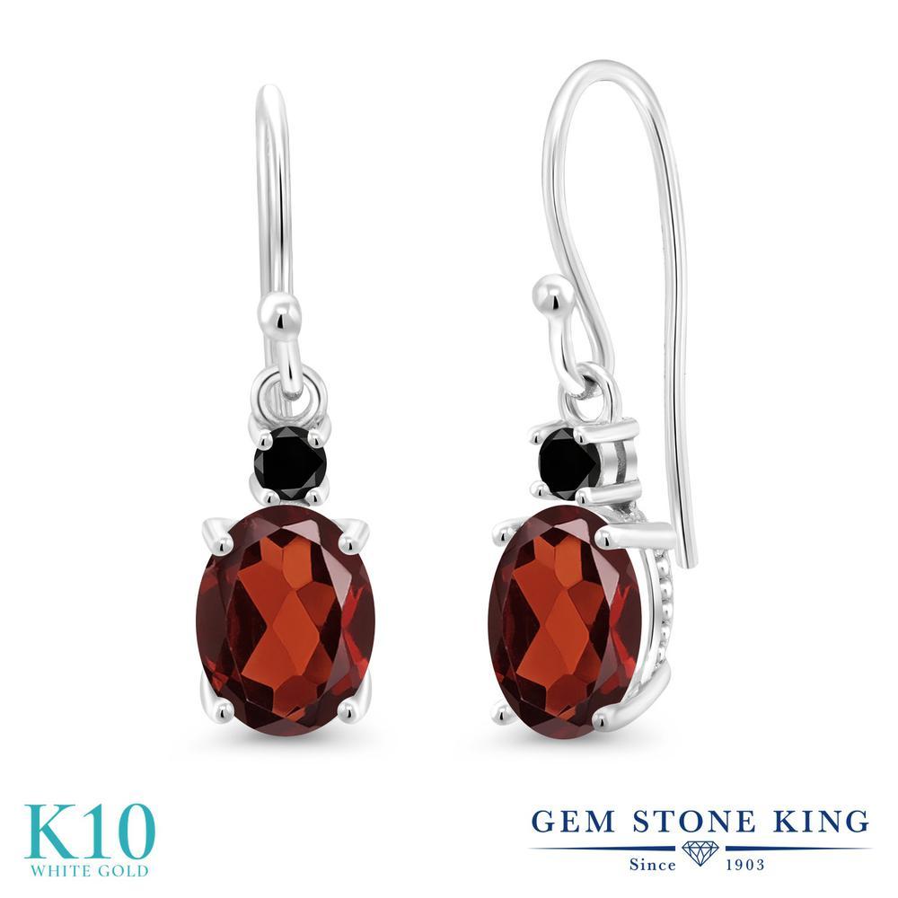 Gem Stone King 2.53カラット 天然 ガーネット 天然ブラックダイヤモンド 10金 ホワイトゴールド(K10) ピアス レディース 大粒 ぶら下がり フレンチワイヤー 天然石 1月 誕生石 金属アレルギー対応 誕生日プレゼント