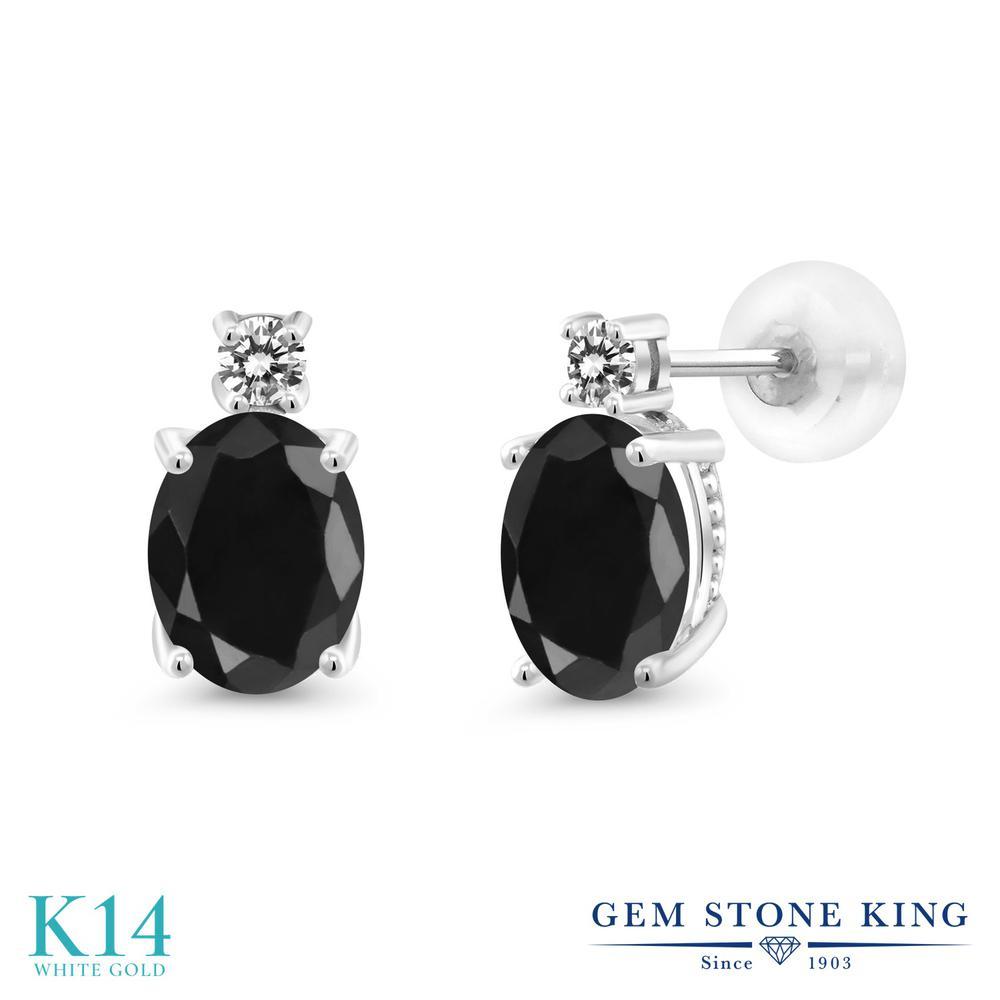 Gem Stone King 3.45カラット 天然 ブラックサファイア 天然 ダイヤモンド 14金 ホワイトゴールド(K14) ピアス レディース 大粒 スタッド 天然石 9月 誕生石 金属アレルギー対応 誕生日プレゼント
