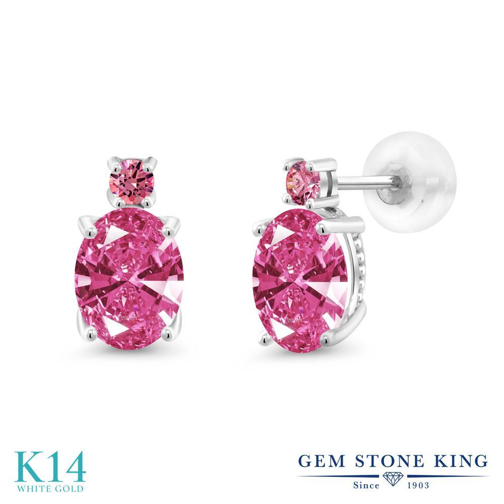 Gem Stone King 2.52カラット スワロフスキージルコニア (ピンク) 14金 ホワイトゴールド(K14) ピアス レディース CZ 大粒 スタッド 金属アレルギー対応 誕生日プレゼント