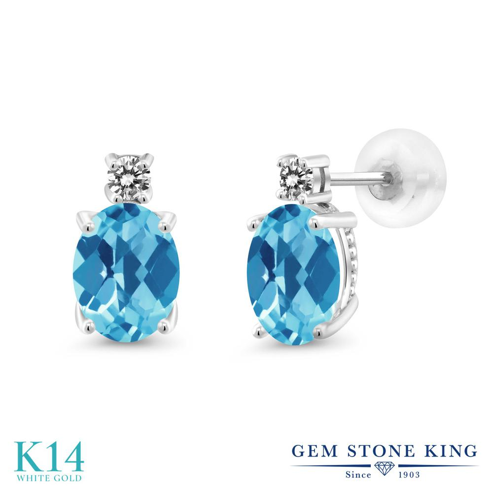 Gem Stone King 2.73カラット 天然 スイスブルートパーズ 天然 ダイヤモンド 14金 ホワイトゴールド(K14) ピアス レディース 大粒 スタッド 天然石 11月 誕生石 金属アレルギー対応 誕生日プレゼント