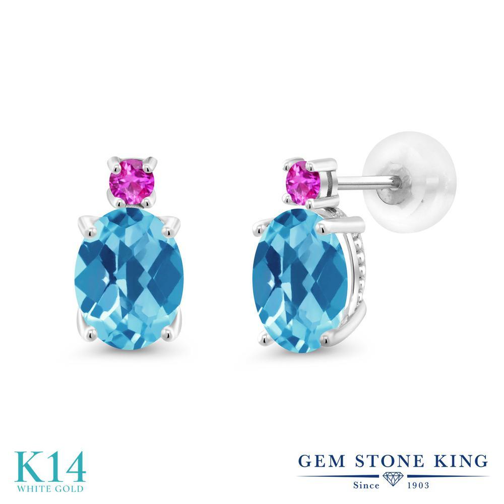 Gem Stone King 2.76カラット 天然 スイスブルートパーズ ピンクサファイア 14金 ホワイトゴールド(K14) ピアス レディース 大粒 スタッド 天然石 11月 誕生石 金属アレルギー対応 誕生日プレゼント