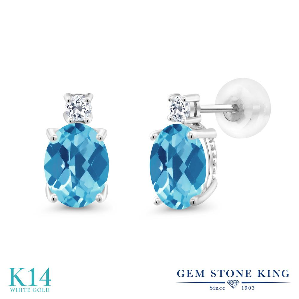 Gem Stone King 2.76カラット 天然 スイスブルートパーズ 天然 トパーズ (無色透明) 14金 ホワイトゴールド(K14) ピアス レディース 大粒 スタッド 天然石 11月 誕生石 金属アレルギー対応 誕生日プレゼント