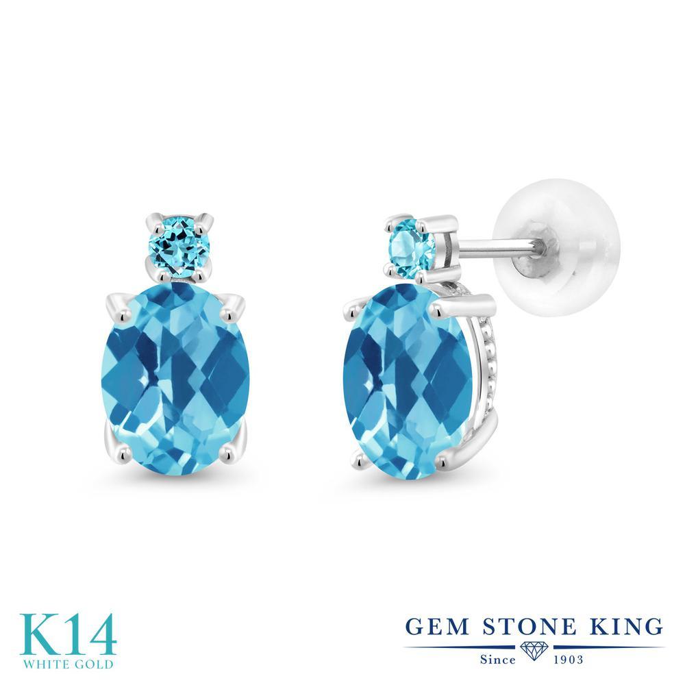 Gem Stone King 2.76カラット 天然 スイスブルートパーズ 14金 ホワイトゴールド(K14) ピアス レディース 大粒 スタッド 天然石 11月 誕生石 金属アレルギー対応 誕生日プレゼント