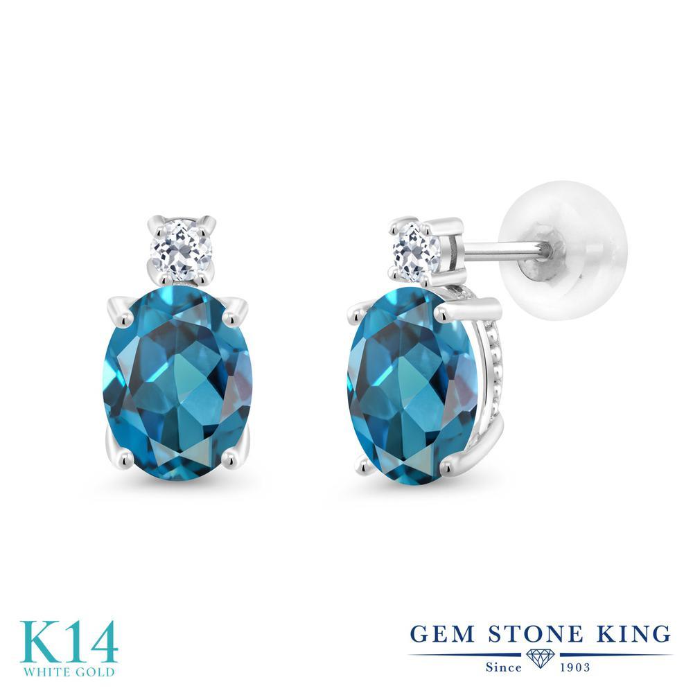 Gem Stone King 2.76カラット 天然 ロンドンブルートパーズ 天然 トパーズ (無色透明) 14金 ホワイトゴールド(K14) ピアス レディース 大粒 スタッド 天然石 11月 誕生石 金属アレルギー対応 誕生日プレゼント