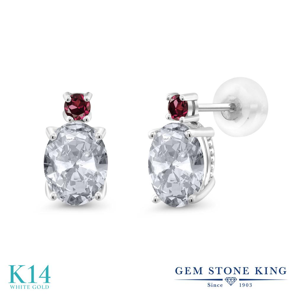 Gem Stone King 2.78カラット 天然 トパーズ (無色透明) 天然 ロードライトガーネット 14金 ホワイトゴールド(K14) ピアス レディース 大粒 スタッド 天然石 11月 誕生石 金属アレルギー対応 誕生日プレゼント