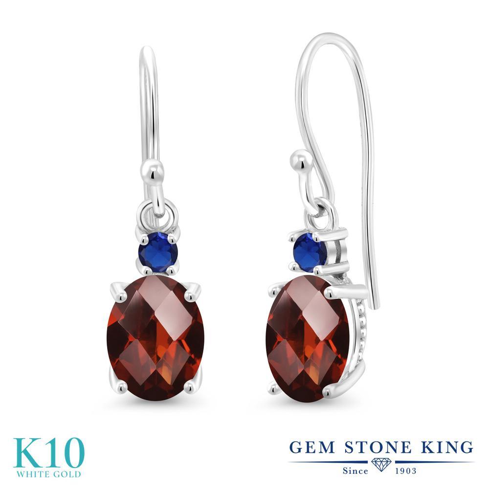 Gem Stone King 2.96カラット 天然 ガーネット 10金 ホワイトゴールド(K10) ピアス レディース 大粒 ぶら下がり フレンチワイヤー 天然石 1月 誕生石 金属アレルギー対応 誕生日プレゼント