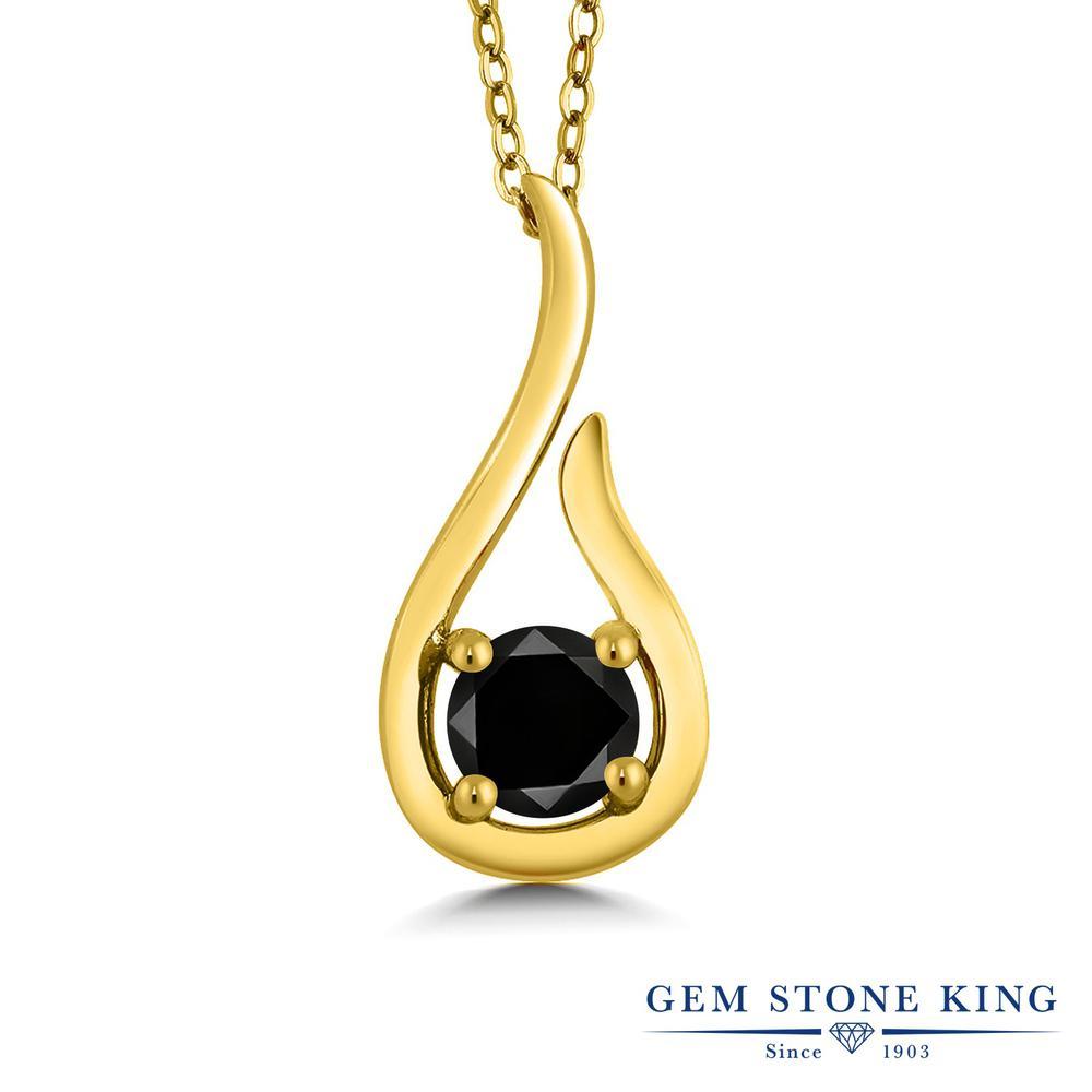Gem Stone King 0.55カラット 天然ブラックダイヤモンド シルバー925 イエローゴールドコーティング ネックレス ペンダント レディース ブラック ダイヤ 一粒 シンプル 天然石 4月 誕生石 金属アレルギー対応 誕生日プレゼント