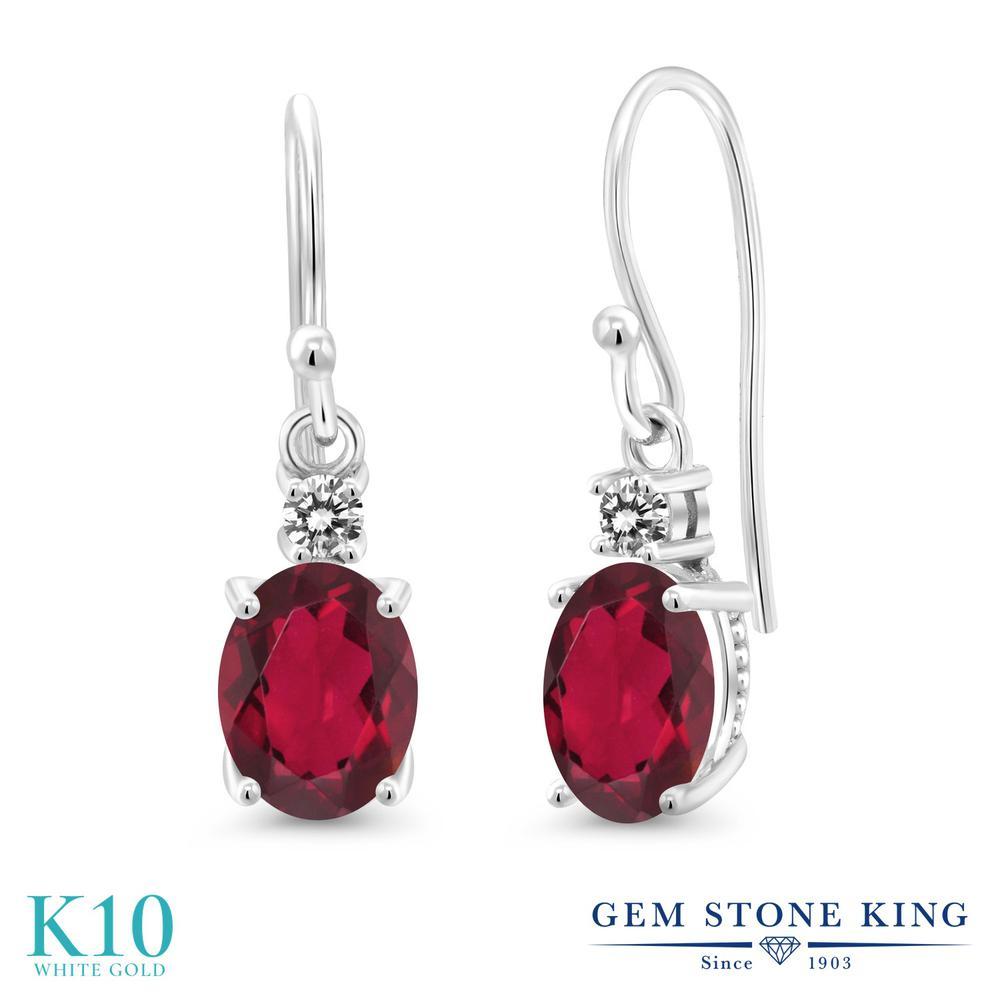 Gem Stone King 2.73カラット 天然 ミスティックトパーズ (ルビーレッド) 天然 ダイヤモンド 10金 ホワイトゴールド(K10) ピアス レディース 大粒 ぶら下がり フレンチワイヤー 天然石 金属アレルギー対応 誕生日プレゼント