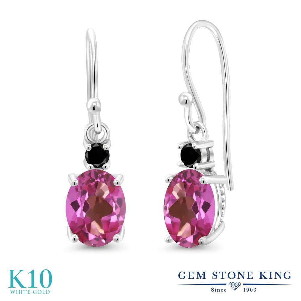 Gem Stone King 2.73カラット 天然 ミスティックトパーズ (ピンク) 天然ブラックダイヤモンド 10金 ホワイトゴールド(K10) ピアス レディース 大粒 ぶら下がり フレンチワイヤー 天然石 金属アレルギー対応 誕生日プレゼント