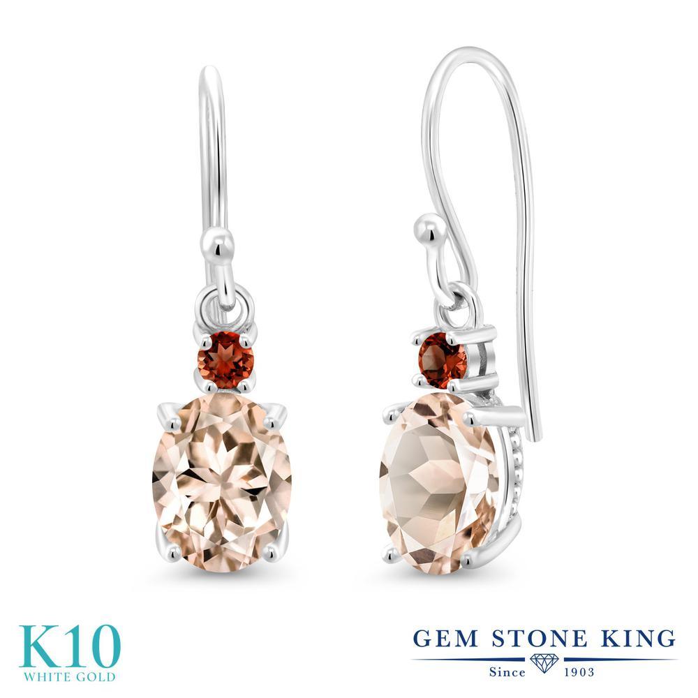 Gem Stone King 2.18カラット 天然モルガナイト(ピーチ) 天然ガーネット 10金 ホワイトゴールド(K10) ピアス レディース 大粒 ぶら下がり フレンチワイヤー 天然石 誕生石 金属アレルギー対応 誕生日プレゼント