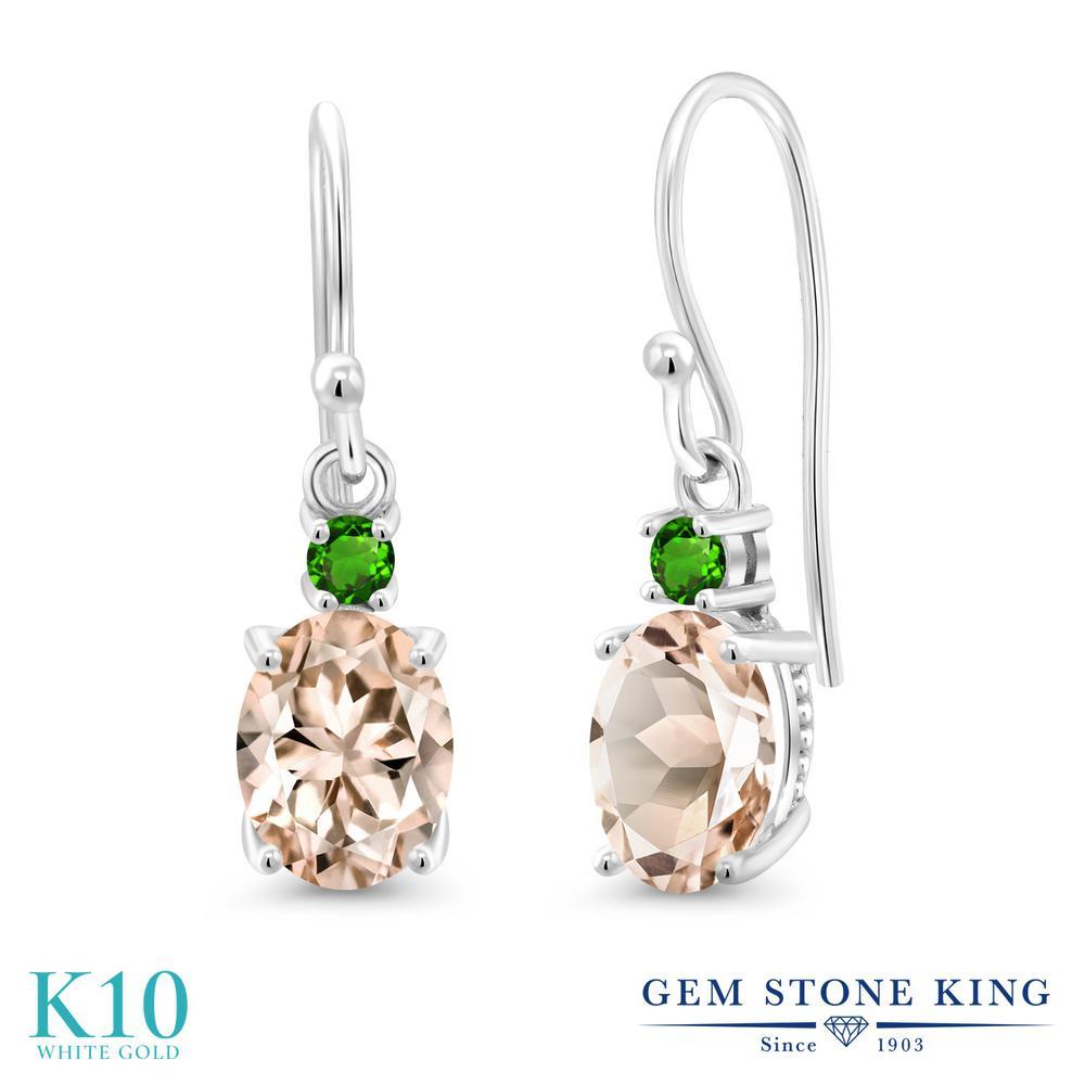 Gem Stone King 2.14カラット 天然モルガナイト(ピーチ) シミュレイテッドツァボライト 10金 ホワイトゴールド(K10) ピアス レディース 大粒 ぶら下がり フレンチワイヤー 天然石 誕生石 金属アレルギー対応 誕生日プレゼント